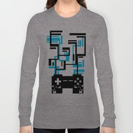 8-BIT JOYSTICK (BLUE AND BLACK) Long Sleeve T-shirt