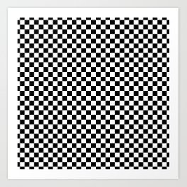 Classic Black and White Checkerboard Repeating Pattern Art Print