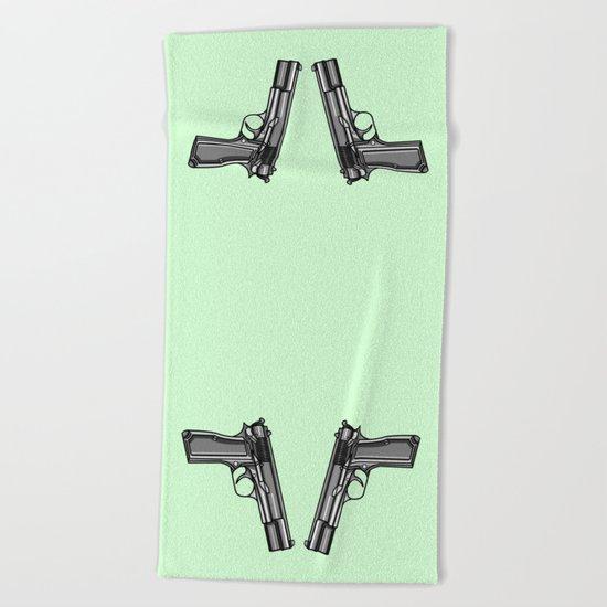Hip Tattoo Pistols Beach Towel