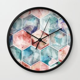 Earth and Sky Hexagon Watercolor Wall Clock