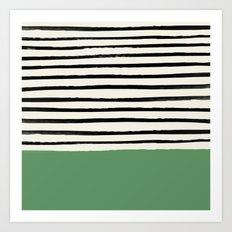 Moss Green x Stripes Art Print