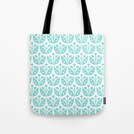 Mid Century Modern Flower Pattern 731 Turquoise Tote Bag