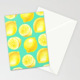 Watercolor lemons pattern Stationery Cards