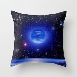 Blue moon over the ocean. Throw Pillow