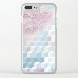 Distressed Cube Pattern - Pink and blue Clear iPhone Case