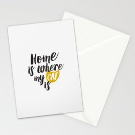 Home is Where My Cat Is (On White) Stationery Cards