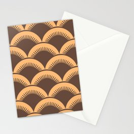 Japanese Fan Pattern Brown and Orange Stationery Cards