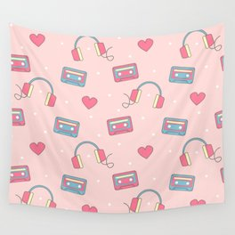 cute colorful pattern with headphones, hearts, dots and cassette tapes Wall Tapestry