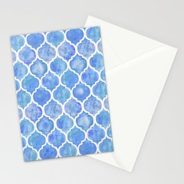 Cornflower Blue Moroccan Hand Painted Watercolor Pattern Stationery Cards