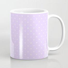 Mini Dark Lilac Love Hearts on Pale Lilac Pastel Coffee Mug