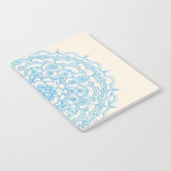 Pale Blue Pencil Pattern - hand drawn lace mandala Notebook