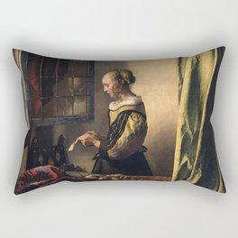 Johannes Vermeer - Girl reading a letter by an open window Rectangular Pillow