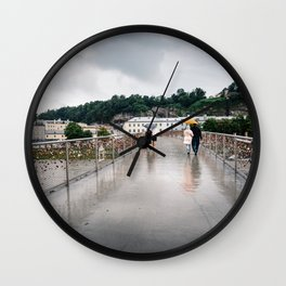 Padlock bridge in Salzburg Wall Clock