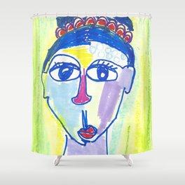 Crazy Face Blue Hair Shower Curtain