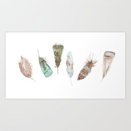 Feather collection in nature colors Art Print