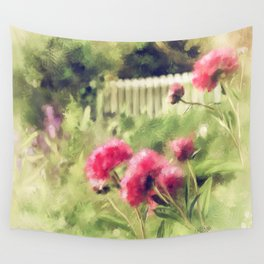 Pink Peonies In A Vintage Garden Wall Tapestry
