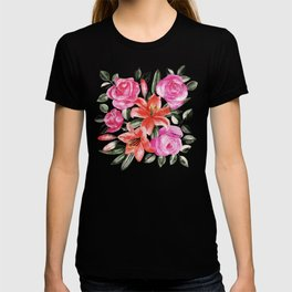 Roses and Lilies in watercolor T-shirt