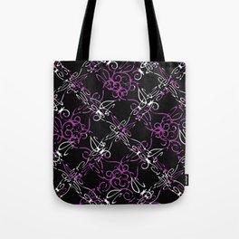 Dark Vintage Lace Pattern Tote Bag