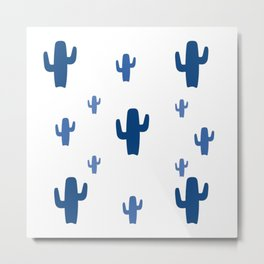 Blue Cactus Pattern Metal Print
