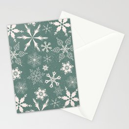 Snowflake collection – sage green Stationery Cards