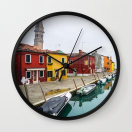 Colorful Burano in Venice, Italy Wall Clock