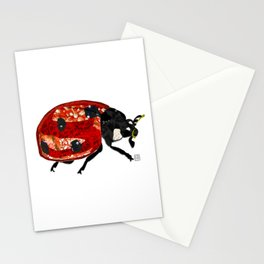 Ladybug - Mixed Media Digital Collage Stationery Cards