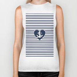 Modern navy blue white heart anchor nautical stripes Biker Tank