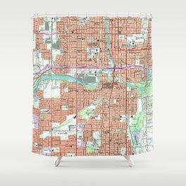 Vintage Map of Lansing Michigan (1965) Shower Curtain