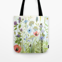 Floral Watercolor Botanical Cottage Garden Flowers Bees Nature Art Tote Bag