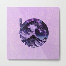 The Great Wave off Kanagawa Purple and Black Metal Print