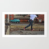 skateboard Art Prints featuring Skateboard by Sam Chapman