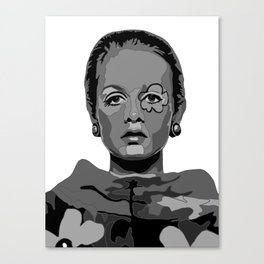 Twiggy Black and White 2 Canvas Print