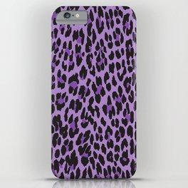 Animal Print, Spotted Leopard - Purple Black iPhone Case