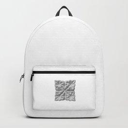 Aisha Bibi carved terracota tile with floral geometric ornament Backpack