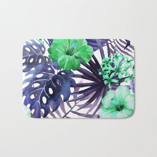 Watercolor botanical leaves Bath Mat