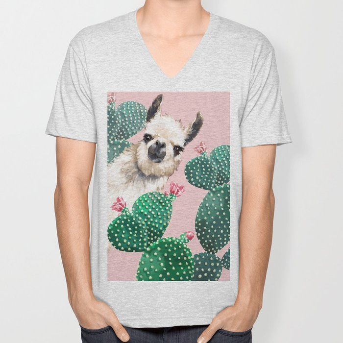 Llama and Cactus Pink Unisex V-Neck