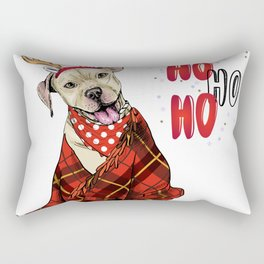 Hand Drawn Pit Bull Terrier Dog Portrait with Antlers and Snuggled in Plaid Blanket Rectangular Pillow