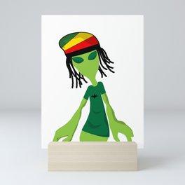 Rastafari Alien Smoking Weed Rasta Marijuana Smoker design Mini Art Print