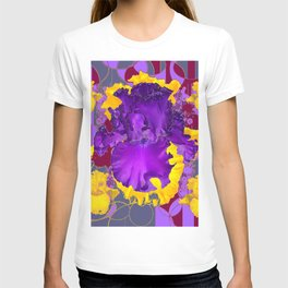 Amethyst Purple Iris Geometric lilac & Grey Patterns T-shirt