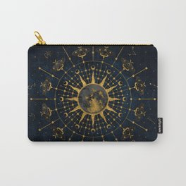 Steampunk Zodiac with Sun and Moon (Blue) Carry-All Pouch