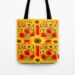 YELLOW SUNFLOWERS RED POPPIES DECO ART Tote Bag
