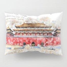 Forbidden City, Beijing, Watercolor Pillow Sham