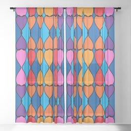 Heart Meets Teardrop Multi Pattern Sheer Curtain