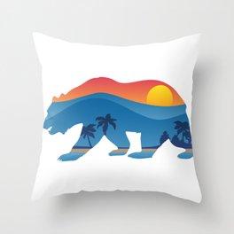 California bear with superimposed mountains and beach shoreline Throw Pillow