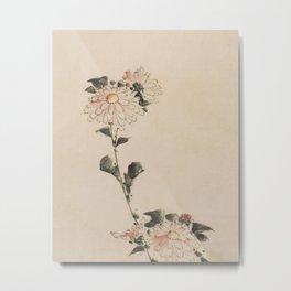 Pastel Pink Flower Blossoms on Long Stalk, Japanese painting Metal Print