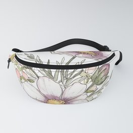 Purple Cosmos Flowers - Watercolor Fanny Pack