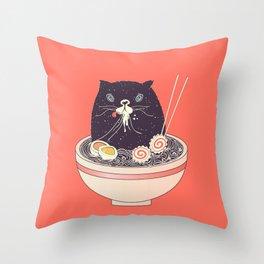 Bowl of ramen and black cat Throw Pillow