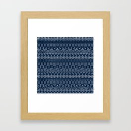 Mudcloth Style 1 in Navy Framed Art Print