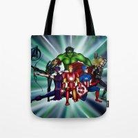 super heroes Tote Bags featuring Heroes by Callie Clara