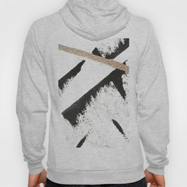 Sassy: a minimal abstract mixed-media piece in black, white, and gold by Alyssa Hamilton Art Hoody